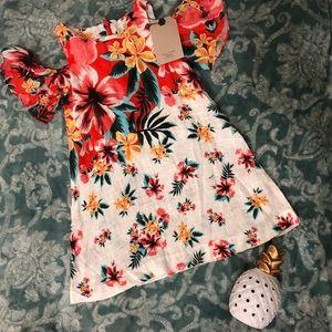 Zara girls floral cold shoulder dress size 5 NWT