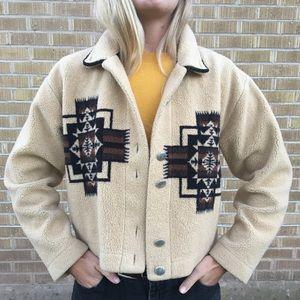 Vintage Fuzzy Fleece Western Crop Coat