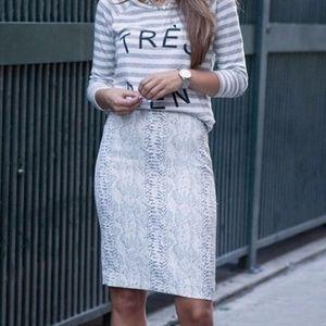 Ann Taylor Flutter Print Pencil Skirt