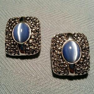 Stunning BLUE CAT'S EYE GLASS EARRINGS! CLIP ONS!