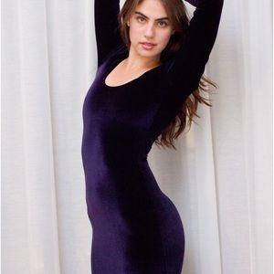 American Apparel Long Sleeve Velvet Minidress