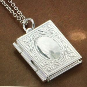 "Jewelry - NEW Sterling Silver 925 Book Locket on 18"" chain"