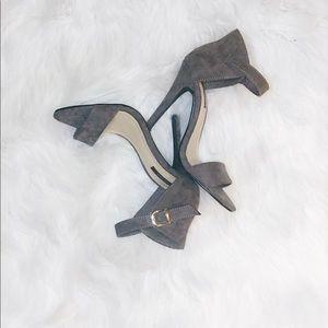 Gray one strap heels