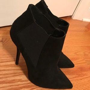 Suede pointed toe heels