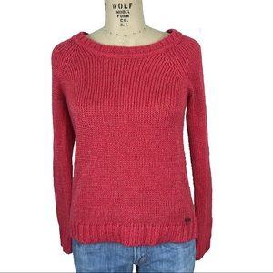 Roxy metallic pink crew neck sweater