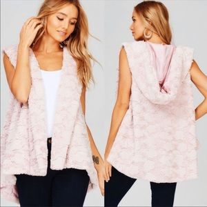 Jackets & Blazers - Soft Furry Pink Hoodie Vest