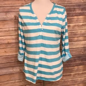 Banana Republic turquoise and white blouse. Size L