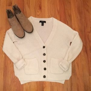 Forever 21 Button White Knit Cardigan