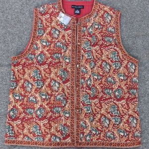 Quilted Vest, Reversible Indian Print/ Chile Red