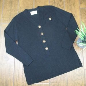 Large Vintage Pullover Sweater Black Gold Button