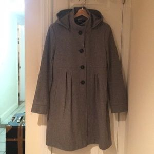DKNY Gray Wool Pea Coat w/ Detachable Hood