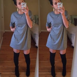 Topshop Gray T Shirt Dress