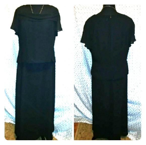 Danny Nicole Dresses Plus Size Black Chiffon Semiformal Gown