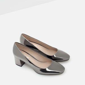Zara shiny block heel pumps