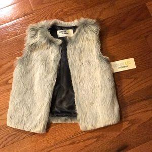 Gray faux fur toddler girl vest