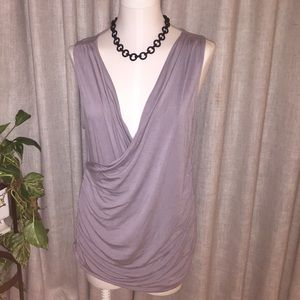Gray wrap front sleeveless