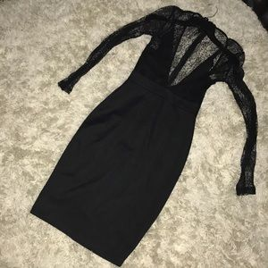 Black misguided lace dress size 8