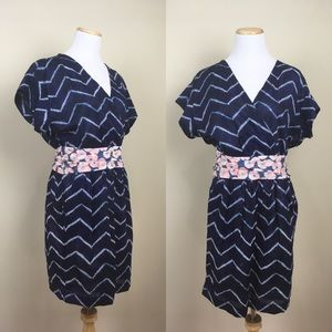 RACHEL Rachel Roy Navy Kimono Dress Tie Dye Zigzag