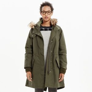 Madewell Side-Zip Field Parka in Olive Green