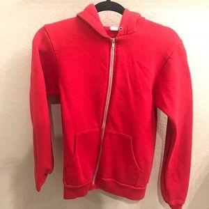 American Apparel Red Unisex Flex Fleece Zip Hoodie