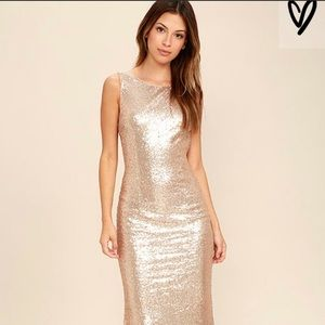 Lulus Rose Gold Sequin Maxi Dress