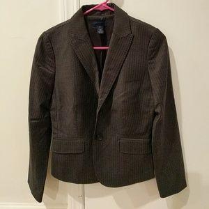 Gray pinstripe suit blazer