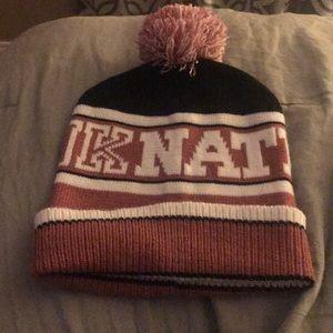 Pink brand beanie hat