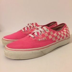 Vans Classic Low Neon Pink Checkers Mens 9.5