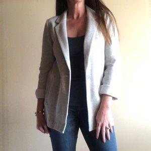 LOFT longline knit blazer in light heather gray