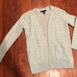 F21 Mint Green Crocheted Cardigan with Pockets