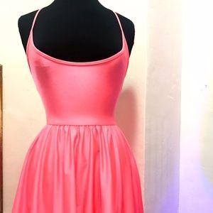 Day Glo Pink Pastel Satin Skater Dress