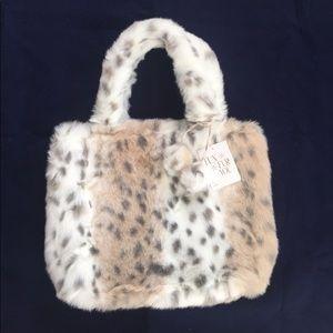 Pottery barn teen leopard faux fur tote