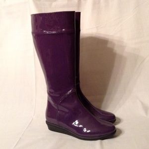 Cole Haan Air Lizzie Purple Patent Rain Boots 7B