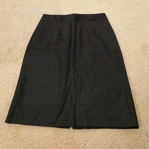 Navy pinstripe pencil skirt