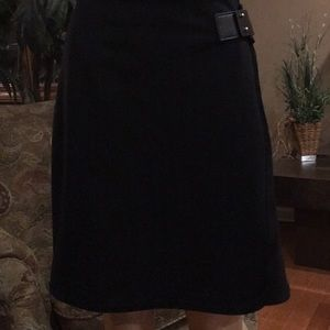 Ivanka Trump Mock Wrap Mini Skirt-Black-Sz 10