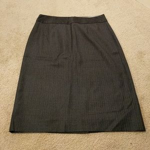Gray pinstripe pencil skirt