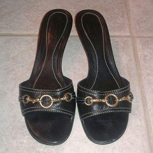 Coach Black Leather Sandals Slides Sz 8