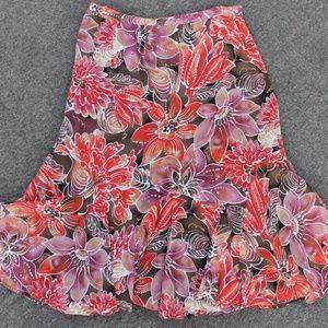 Chico's Silk Floral Print Flouncy Skirt