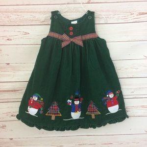 Other - Snowmen Corduroy Green Jumper Dress