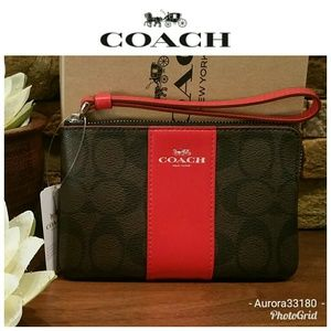 NEW Coach Wristlet in Brown & Bright Red w/box