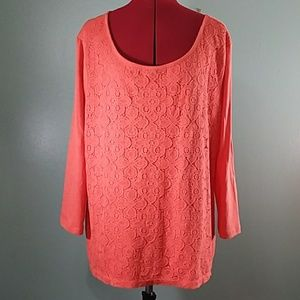 Old Navy boat neck lace t shirt XXX salmon
