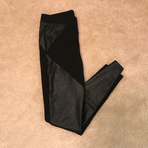 Express Black high waisted leggings w/faux leather