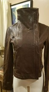 New Andrew Marc Leather Moto Jacket distressed