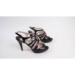 Prada black leather strappy heels 40