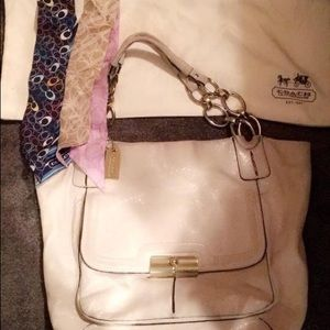 Ivory coach purse with bag and 2 scarves
