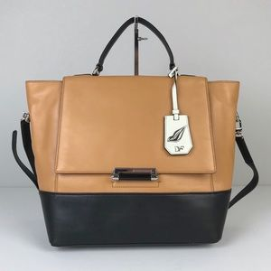 NWT DVF Tan & Black Leather 440 Top Handle Satchel