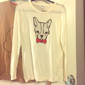 NWT cream Boston Terrier Dog Sweater Large