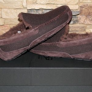 UGG ASCOT Wool Suede Shearling Slippers