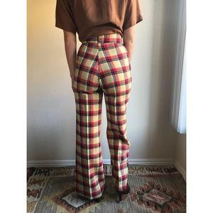 [vintage] 70s bell bottom plaid wool pants