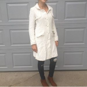 Banana Republic Cream Button Up Pea Coat